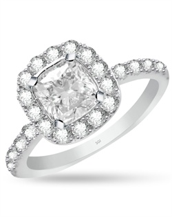 The soft rounded corners in the cushion shaped halo gracefully enhance the 1 1/2ct center stone.  The engagement ring has 0.76cts of Ideal Cut diamonds, F-G Color, SI1 Clarity set in 14Kt White, Pink, and/or Yellow Gold.  The center stone and matching wedding band are sold separately.