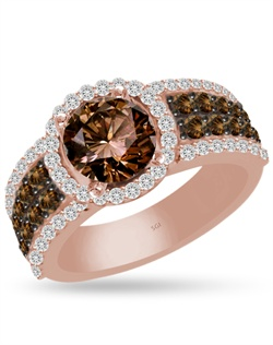 The warm glow of brown diamonds embraced by white diamonds will make you stand out.  Unique and trendy, this ring is the perfect choice to show off your style and accent your 1 1/2ct round diamond.  0.43cts of Ideal Cut diamonds, F-G Color, SI1 Clarity and 0.61cts of Ideal Cut Natural Brown diamonds, C5-C6 Color, set in 14Kt Pink, White, and/or Yellow Gold.  The center stone and matching wedding band are sold separately.