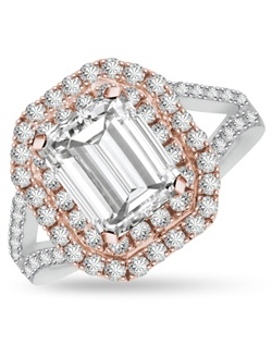 Beautifully styled to last a lifetime, this double halo ring perfectly expresses your attitude.  Shown with a 2.0ct Emerald Cut diamond center stone, this ring is perfect for colored gems and fancy colored diamonds.  1.05cts of Ideal Cut diamonds, F-G Color, SI1 Clarity set in 14Kt White, Pink, and/or Yellow Gold.  The center stone and matching wedding band are sold separately.