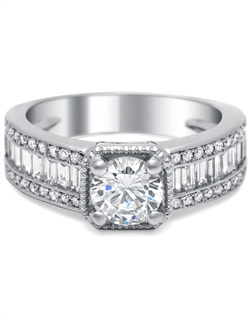 signature cushion head, two rows of brilliant round diamonds, 0.24 ct tw, and a row of baguettes down the center, 0.80 ct