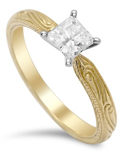 4-prong engraved solitaire ring