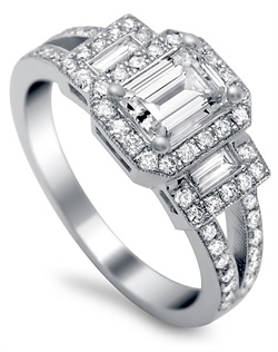 Emerald cut halo with baguette sides .33ctw