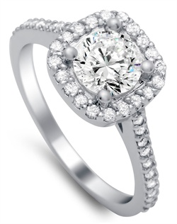 cathedral set cushion halo ring features 0.40 carats of diamonds and is made to fit a round center stone