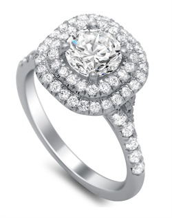 double halo ring features 0.62 carats of pave set diamonds.
