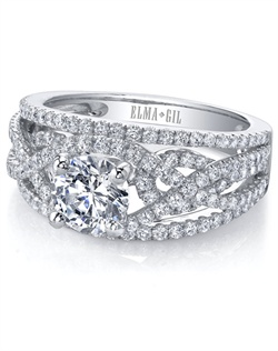 This stunning semi-mount is shown with a 1ct center diamond. Available in 18K white, yellow or rose gold and platinum. Prong set for durability with diamonds calibrated to 1/100th of a millimeter. Settings can be custom made to fit any size or shape center stone. Total weight of semi-mount 1.17 Ct. Matching band available - Style number DR-349A