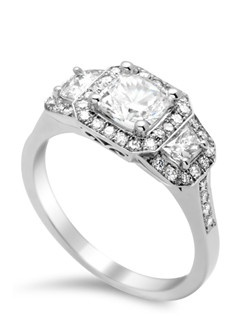 three stone pave halo ring with open gallery and 0.40 ct TW diamond