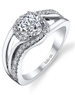 This stunning semi-mount is shown with a 1ct center diamond. Available in 18K white, yellow or rose gold and platinum. Prong set for durability with diamonds calibrated to 1/100th of a millimeter. Settings can be custom made to fit any size or shape center stone. Total weight of semi-mount 0.29 Ct. Matching band available - Style number DR-282A