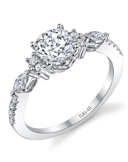 This stunning semi-mount is shown with a 1ct center diamond. Available in 18K white, yellow or rose gold and platinum. Prong set for durability with diamonds calibrated to 1/100th of a millimeter. Settings can be custom made to fit any size or shape center stone. Total weight of semi-mount 0.27 Ct. Matching band available - Style number DR-522A