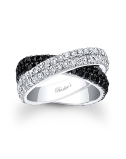 Beautiful black and white diamond wedding band, featuring two crossing double row bands of shared pring set diamonds,one band is white diamonds while the other crosses underneath and is set with black diamonds for a modern contemporary flair. Also available in rose gold, yellow gold, 18k and Platinum.