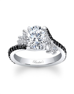 Simply elegant describes this black and white diamond engagement ring. Featuring a prong set round diamond center graced on each side with a flare of marquise diamonds and black diamonds cascading down the dainty shank for a touch of sheer elegance. Also available in rose gold, yellow gold, 18k and Platinum.
