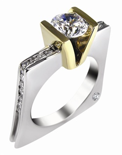This 14kt two-tone White/Yellow Semi-Mount is shown with a 2ct diamond center, and .43ctw diamonds. Available in 14/18k white, yellow, or rose gold, platinum, or palladium. Ring can be customized to fit any size/shape diamond or gemstone center. Center stone sold separately.