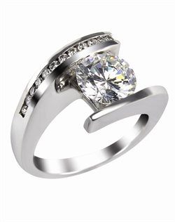 This 14kt White Semi-Mount is shown with a 2ct diamond center, and  .18ctw diamonds. Available in 14/18k white, yellow, or rose gold, platinum, or palladium. Ring can be customized to fit any size/shape diamond or gemstone center. Center stone sold separately.