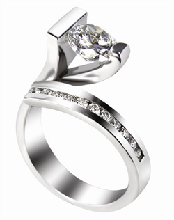 This 14KT White Semi-Mount is shown with a 1.5ct diamond center, and .23ctw diamonds. Available in 14/18k white, yellow, or rose gold, platinum, or palladium. Ring can be customized to fit any size/shape diamond or gemstone center. Center stone sold separately.