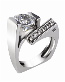 This 14kt White Semi-Mount is shown with a 2ct diamond center, and .25ctw diamonds. Available in 14/18k white, yellow, or rose gold, platinum, or palladium. Ring can be customized to fit any size/shape diamond or gemstone center. Center stone sold separately.