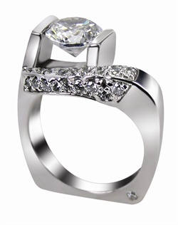 This 14kt White Semi-Mount is shown with a 2ct diamond center, and .41ctw diamonds. Available in 14/18k white, yellow, or rose gold, platinum, or palladium. Ring can be customized to fit any size/shape diamond or gemstone center. Center stone sold separately.