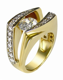This 14kt Yellow Semi-Mount is shown with a 2ct Oval diamond center, and .62ctw diamonds. Available in 14/18k white, yellow, or rose gold, platinum, or palladium. Ring can be customized to fit any size/shape diamond or gemstone center. Center stone sold separately.