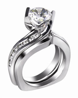 This 14kt White Semi-Mount is shown with a 2ct diamond center, and .24ctw diamonds. Available in 14/18k white, yellow, or rose gold, platinum, or palladium. Ring can be customized to fit any size/shape diamond or gemstone center. Center stone sold separately.