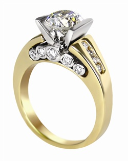 This 14kt two-tone White/Yellow Semi-Mount is shown with a 1.75ct diamond center, and .28ctw diamonds. Available in 14/18k white, yellow, or rose gold, platinum, or palladium. Ring can be customized to fit any size/shape diamond or gemstone center. Center stone sold separately.