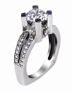 This 14kt White Semi-Mount is shown with a 1.5ct diamond center, and .35ctw diamonds. Available in 14/18k white, yellow, or rose gold, platinum, or palladium. Ring can be customized to fit any size/shape diamond or gemstone center. Center stone sold separately.