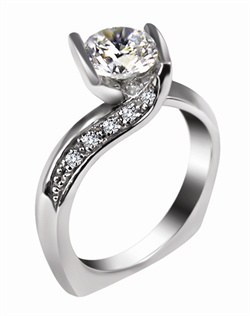 This 14kt White Semi-Mount is shown with a 1.5ct diamond center, and .10ctw diamonds. Available in 14/18k white, yellow, or rose gold, platinum, or palladium. Ring can be customized to fit any size/shape diamond or gemstone center. Center stone sold separately.