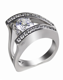 This 14K White Semi-Mount is shown with a 1ct diamond center, and .62ctw diamonds set in Pave. Available in 14/18k white, yellow, or rose gold, platinum, or palladium. Ring can be customized to fit any size/shape diamond or gemstone center. Center stone sold separately.