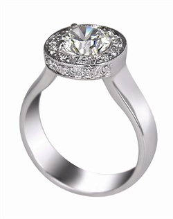 This 14kt White Semi-Mount is shown with a 1ct diamond center, and .22ctw diamonds. Available in 14/18k white, yellow, or rose gold, platinum, or palladium. Ring can be customized to fit any size/shape diamond or gemstone center. Center stone sold separately.