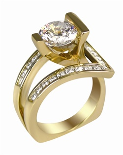 This 14kt two-tone White/Yellow Semi-Mount is shown with a 2ct diamond center, and .52ctw diamonds. Available in 14/18k white, yellow, or rose gold, platinum, or palladium. Ring can be customized to fit any size/shape diamond or gemstone center. Center stone sold separately.