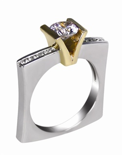 This 14kt two-tone White/Yellow Semi-Mount is shown with a .75ct diamond center, and .22ctw diamonds. Available in 14/18k white, yellow, or rose gold, platinum, or palladium. Ring can be customized to fit any size/shape diamond or gemstone center. Center stone sold separately.