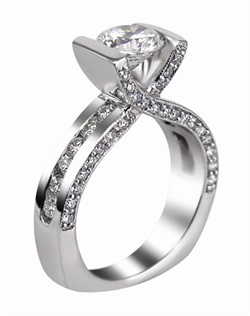 This 14kt White Semi-Mount is shown with a 2ct diamond center, and 1.16ctw diamonds. Available in 14/18k white, yellow, or rose gold, platinum, or palladium. Ring can be customized to fit any size/shape diamond or gemstone center. Center stone sold separately.