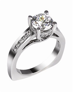 This 14kt White Semi-Mount is shown with a 1/2ct diamond center, and .20ctw diamonds. Available in 14/18k white, yellow, or rose gold, platinum, or palladium. Ring can be customized to fit any size/shape diamond or gemstone center. Center stone sold separately.
