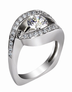 This 14kt White Semi-Mount is shown with a 1ct diamond center, and .30ctw diamonds. Available in 14/18k white, yellow, or rose gold, platinum, or palladium. Ring can be customized to fit any size/shape diamond or gemstone center. Center stone sold separately.