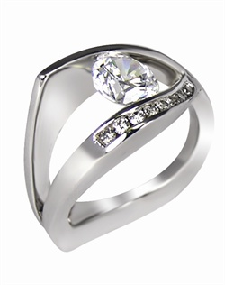 This 14kt White Semi-Mount is shown with a 3ct diamond center, and .38ctw diamonds. Available in 14/18k white, yellow, or rose gold, platinum, or palladium. Ring can be customized to fit any size/shape diamond or gemstone center. Center stone sold separately.