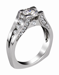 This 14kt White Semi-Mount is shown with a 1ct diamond center, and .20ctw diamonds. Available in 14/18k white, yellow, or rose gold, platinum, or palladium. Ring can be customized to fit any size/shape diamond or gemstone center. Center stone sold separately.