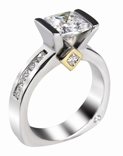 This 14kt White Semi-Mount is shown with a 1ct Princess cut diamond center, and .70ctw Princess cut diamonds. Available in 14/18k white, yellow, or rose gold, platinum, or palladium. Ring can be customized to fit any size/shape diamond or gemstone center. Center stone sold separately.