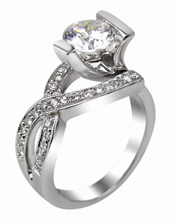 This 14kt White Semi-Mount is shown with a 1.5ct diamond center, and  .31ctw Diamonds. Available in 14/18k white, yellow, or rose gold, platinum, or palladium. Ring can be customized to fit any size/shape diamond or gemstone center. Center stone sold separately.