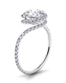 18k white gold with .5tcw of diamonds, round center stone not included
