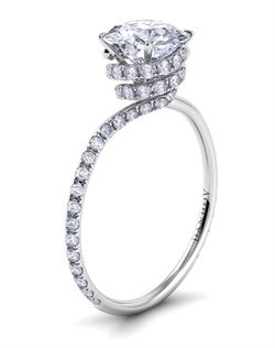 Platinum swirl with .52tcw of diamonds, round center stone not included