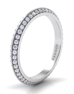 18k white gold wedding band with .65tcw of diamonds, center stone not included