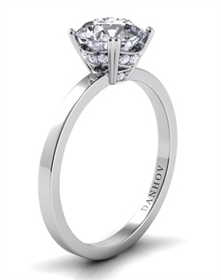Platinum setting with diamond-enhanced crown, .1tcw of diamonds, center stone not included