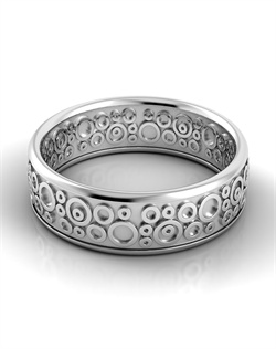 18k white gold men's band with varying sizes of raised circles