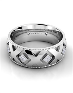 18k white gold men's band with Xs and .4tcw of diamonds