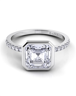 Platinum engagement ring setting with .22tcw of diamonds, center stone is not included