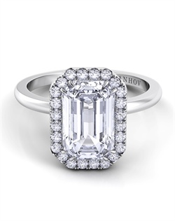 Platinum engagement ring setting with .23tcw of diamonds, center stone is not included