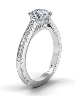 Platinum setting with diamond crown, .21tcw of diamonds, center stone not included