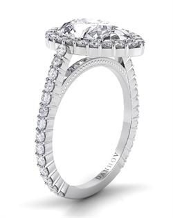 Platinum engagement ring with halo setting, .51tcw of diamonds, does not include center stone