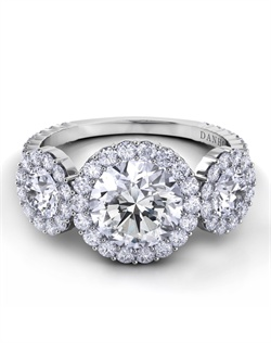 3-stone setting in platinum with 1.29tcw of diamonds, does not include center stone