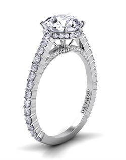 18k white gold engagement ring with .31tcw of diamonds, center stone not included