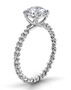 18k white gold setting with twisted shank and .5tcw of diamonds, center stone not included