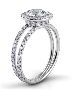 Platinum ring with double shank halo setting, .68tcw of diamonds, center stone not included