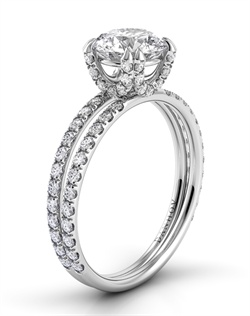 Platinum crisscross setting with .55tcw of diamonds in diamond shank, center stone not included
